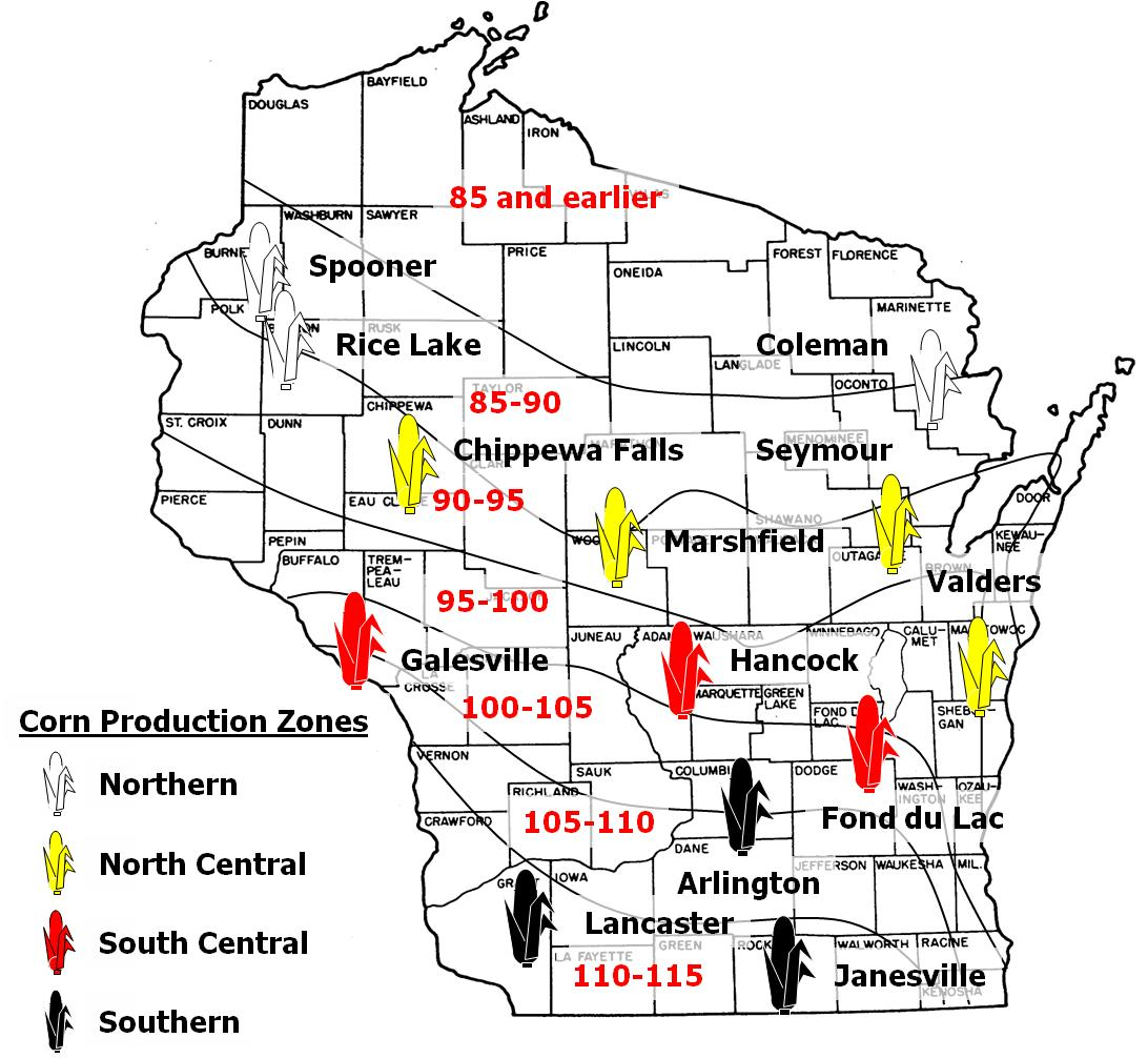 Corn relative maturity zone map